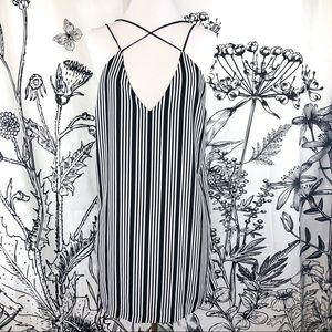Black & White Stripped Strappy Deep V Neck Dress
